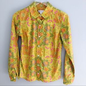 Flower Power Hippie Long Sleeve 70's Button Front